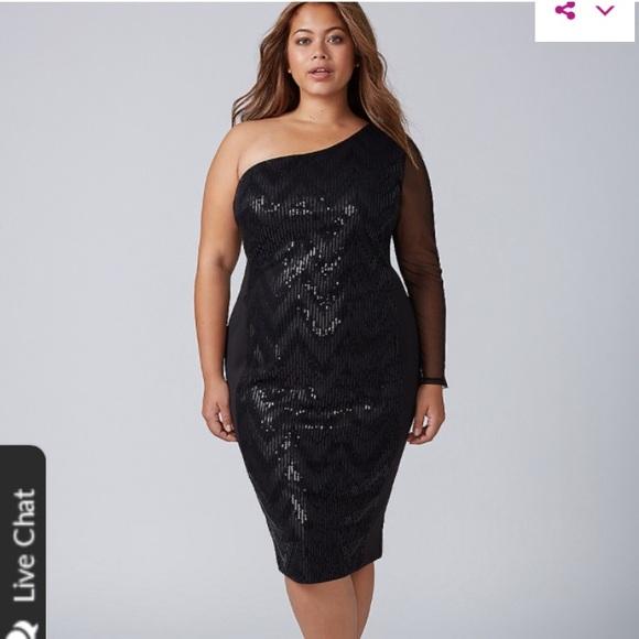 e1db08a8c88 NWT Lane Bryant One Shoulder Sequin Dress